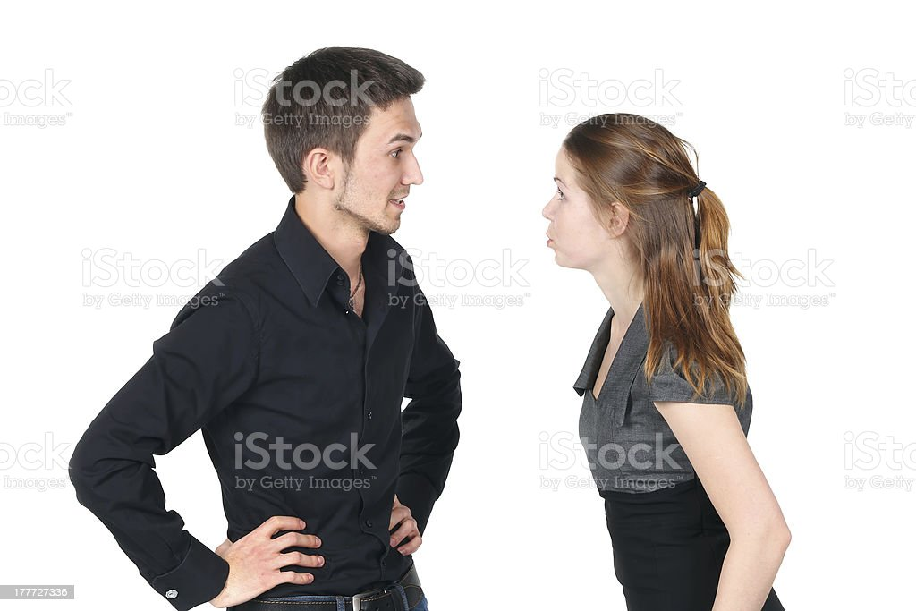 Young caucasian couple arguing royalty-free stock photo