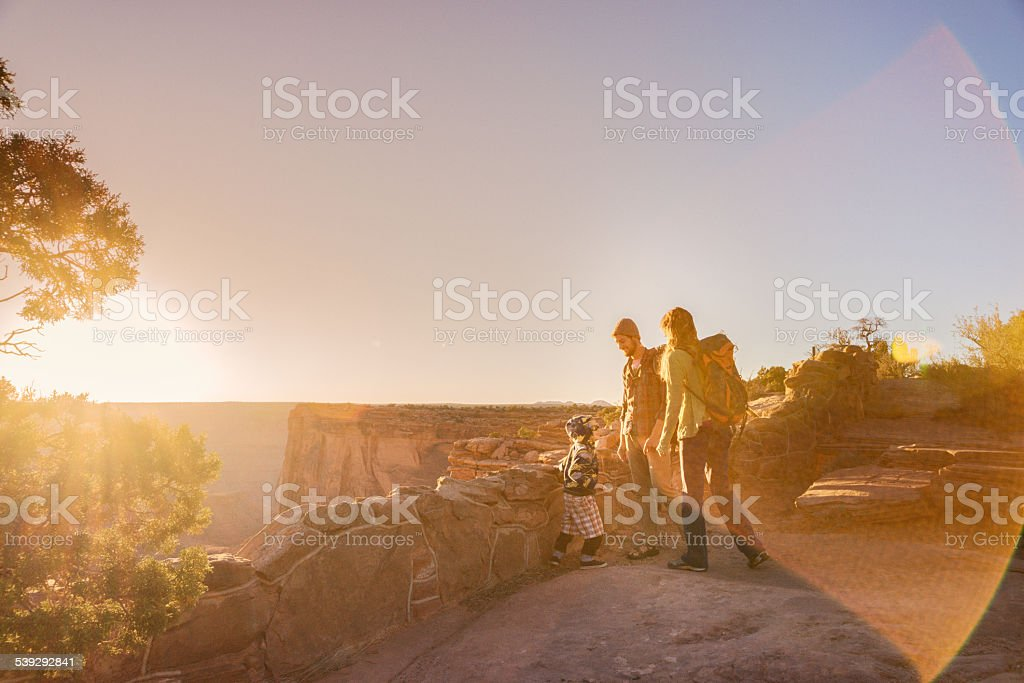 Young Caucasian Family Hiking stock photo