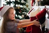 Young Caucasian girl enjoying Christmas holiday