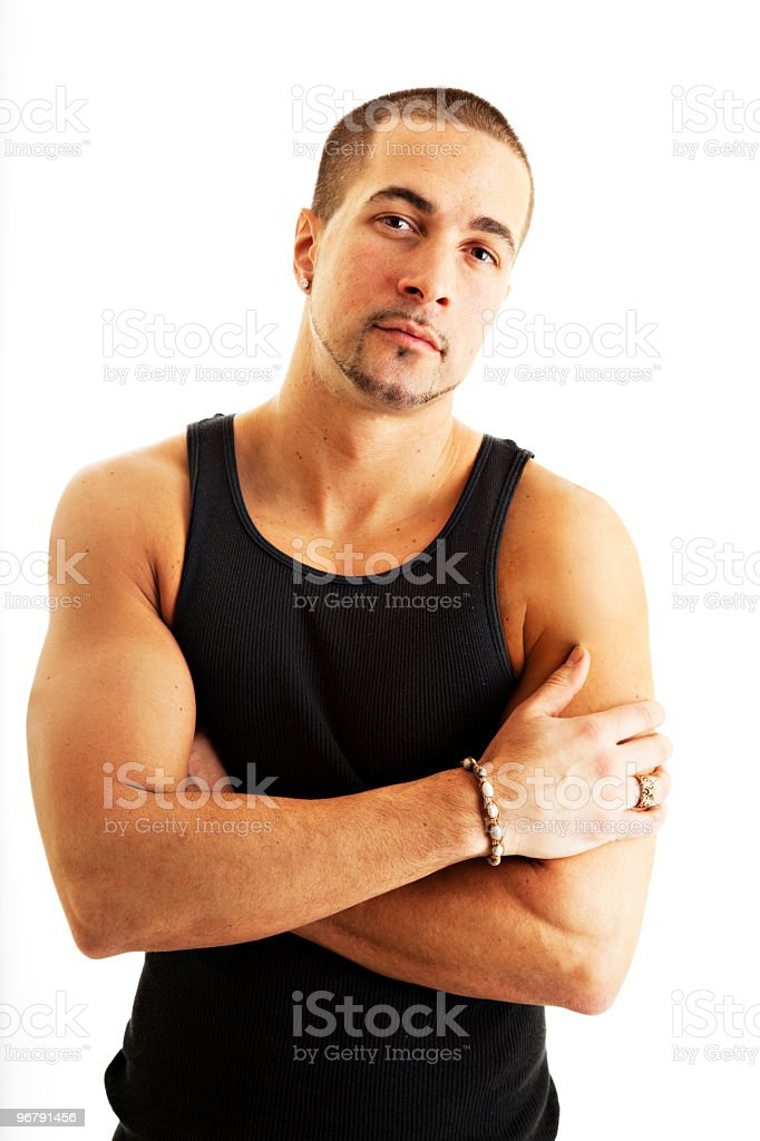 Young Caucasian male with arms crossed royalty-free stock photo
