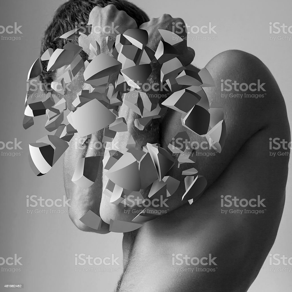 Young Caucasian man blocking from explosion stock photo