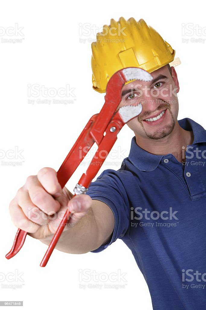 Young caucasian man tool with Monkey wrench royalty-free stock photo