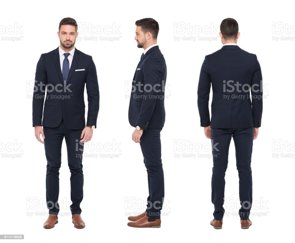 Young caucasian stylish businessman front side rear view isolated stock photo