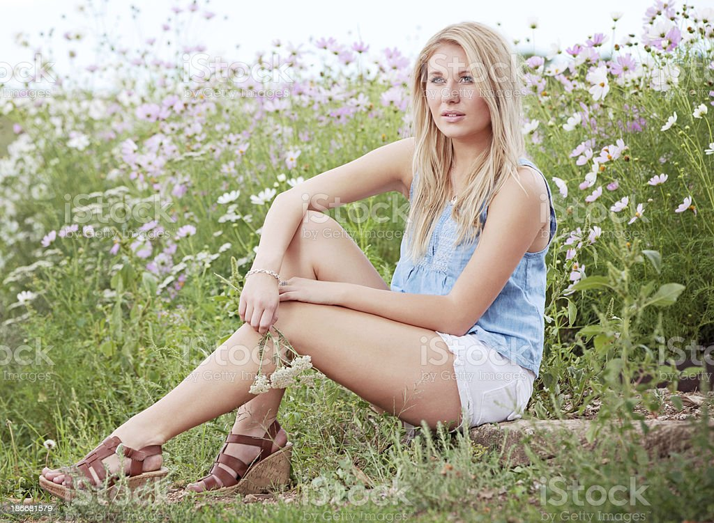 Young Caucasian Woman in Nature royalty-free stock photo