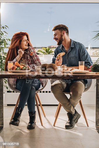Cheerful couple talking while having a meal at dining table.