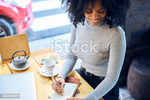 istock Young cheerful creative editor of popular news agency working on new media project writing down best ideas into notebook while having tea time waiting for meeting in modern cafe sitting near window 905463926