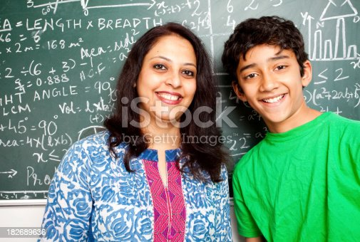 istock Young Cheerful Indian Teacher with her Student 182689636