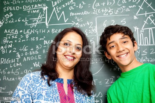 istock Young Cheerful Indian Teacher with her Student 182705471