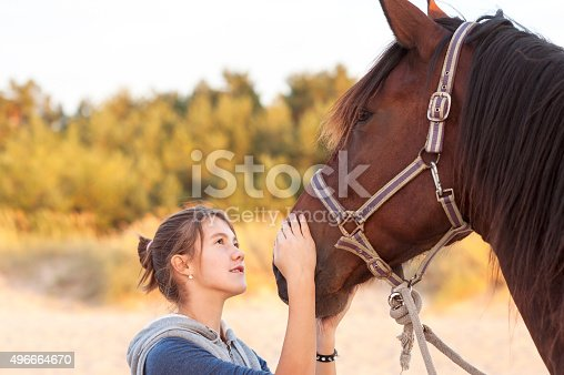 Young cheerful teenage girl stroking her big lovely horse's nose. Vibrant multicolored summertime outdoors horizontal image.