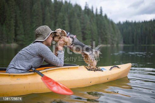 Young girl and her dog are kayaking at the mountains smiling and having fun