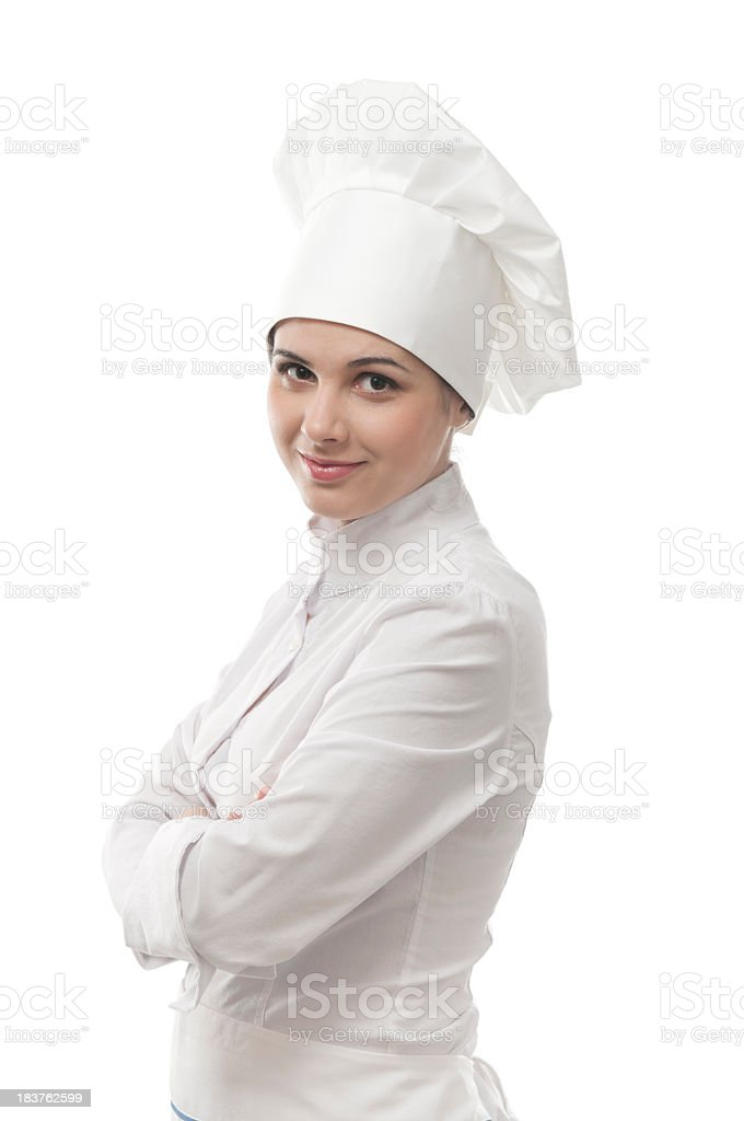 Young chef looking at the camera stock photo