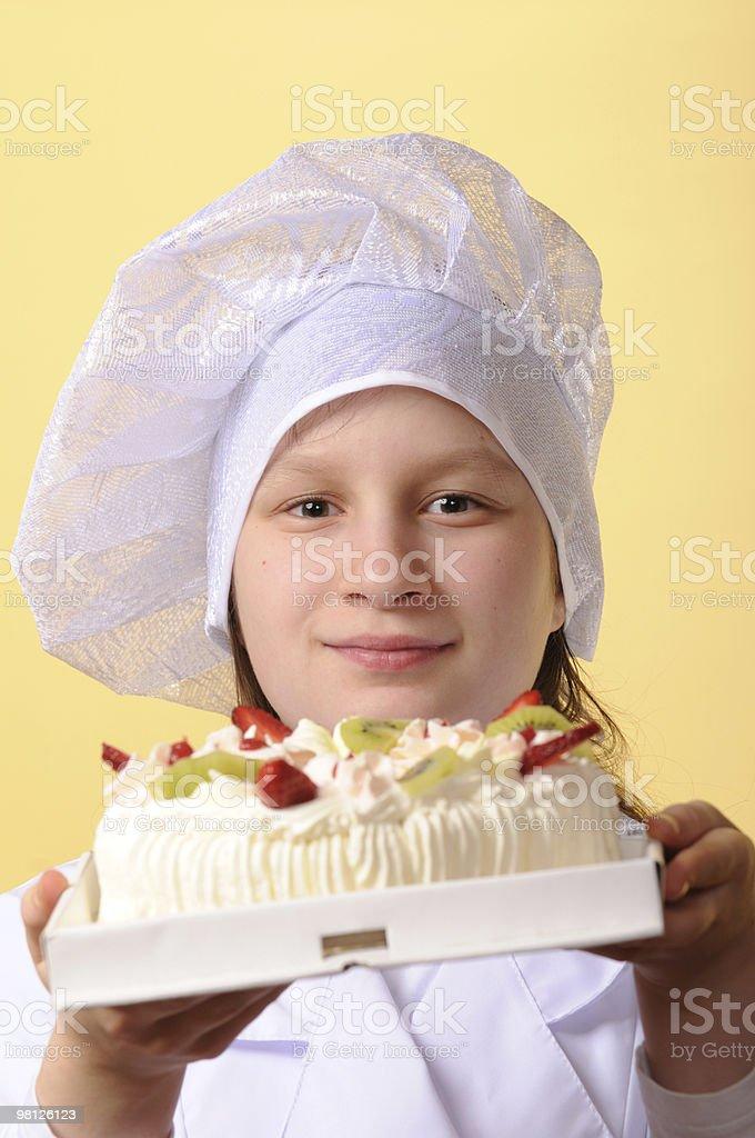 젊은 요리사, 케이크 royalty-free 스톡 사진