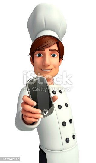 istock Young Chef with mobile 467432477
