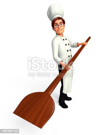istock Young Chef with pizza spade 467381125