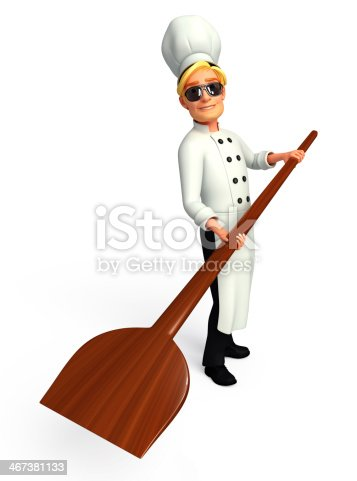istock Young Chef with pizza spade 467381133