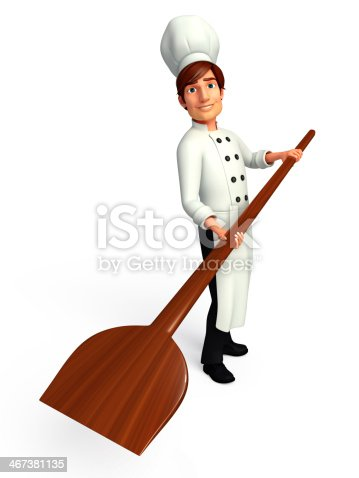 istock Young Chef with pizza spade 467381135