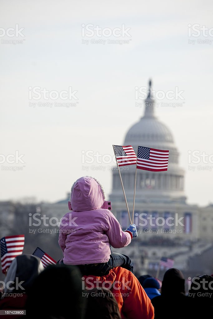 Young child at Obama Inauguration in Washington DC stock photo