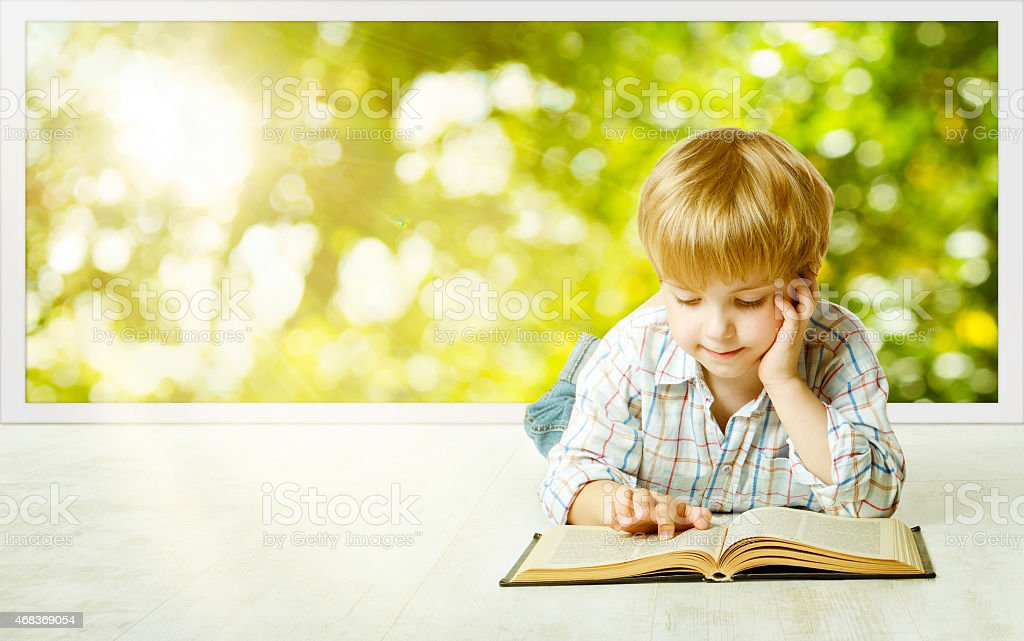 Young Child Boy Reading Book, Children Early Development, Kid Education stock photo