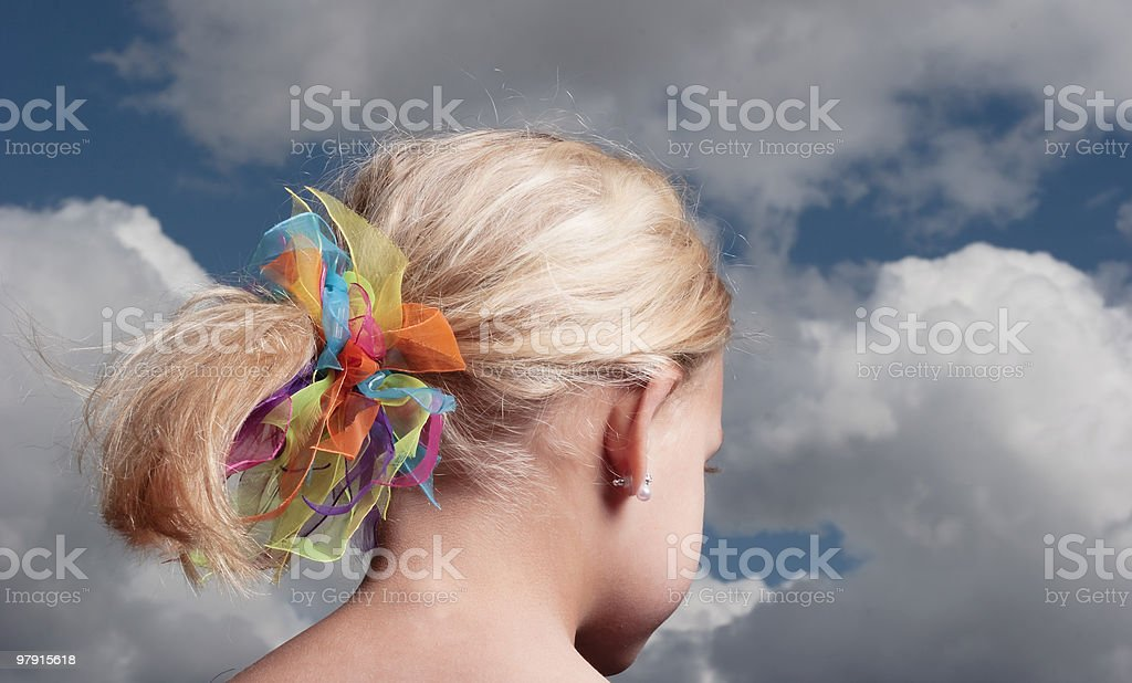 Young child, colourful ribbon in hair royalty-free stock photo