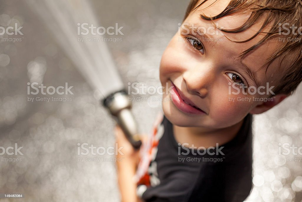 Young Child Cooling Off stock photo
