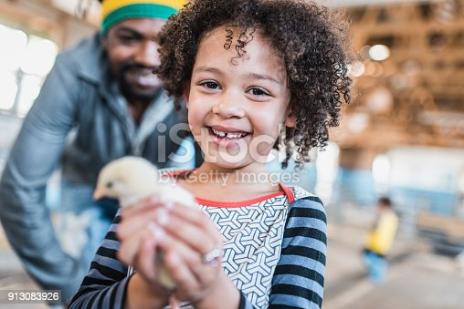 Young child holding a chicken on a farm