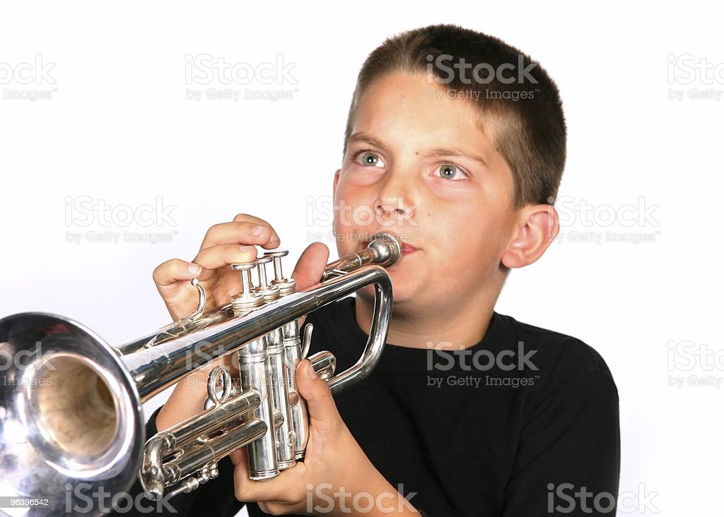 Young Child Playing the Trumpet stock photo