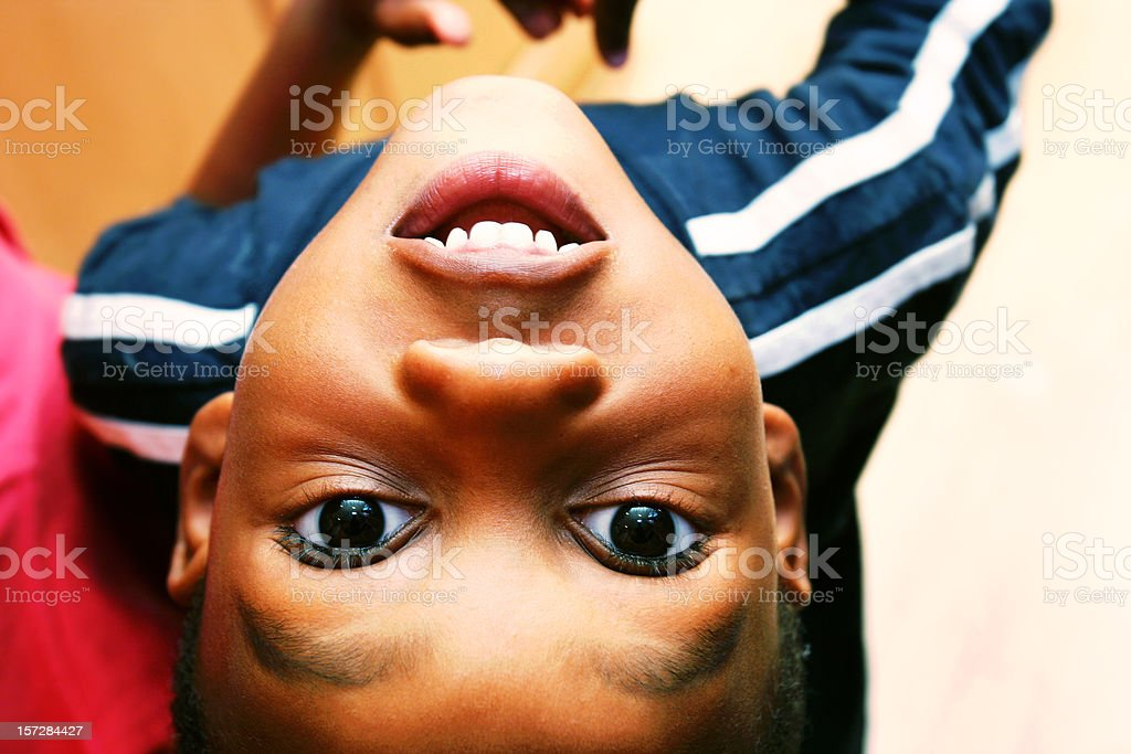 Young Child Upside Down royalty-free stock photo