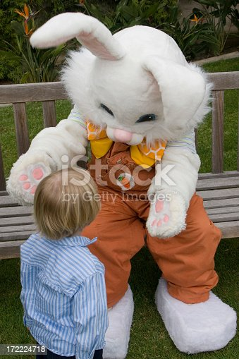 istock Young child walking up to Easter bunny 172224718