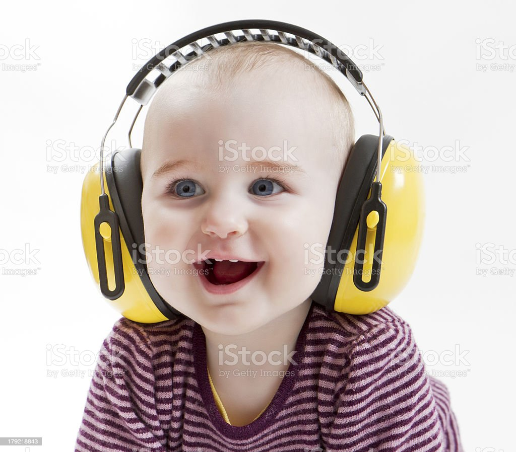 young child with ear protector stock photo