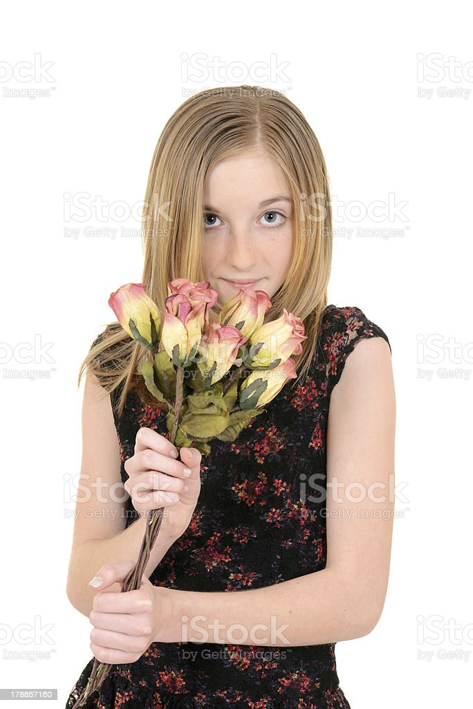 young child with roses royalty-free stock photo