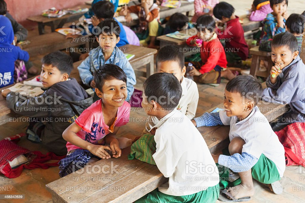 Young children at village school in Myanmar. royalty-free stock photo
