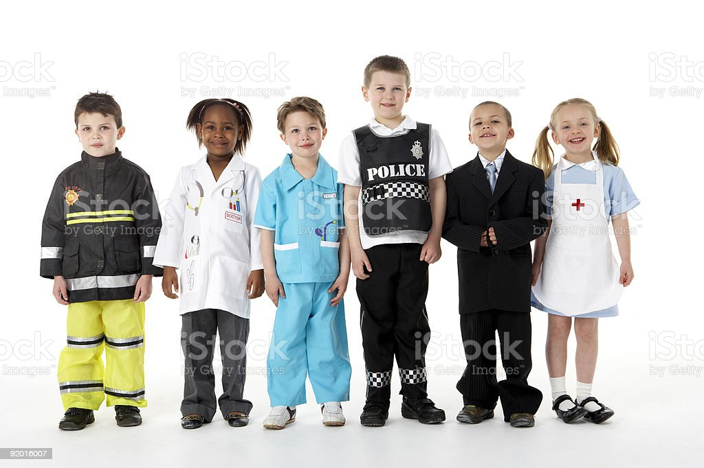 Young Children Dressing Up stock photo