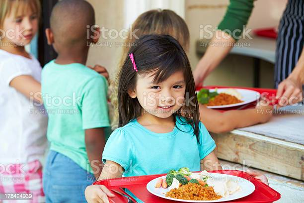 Young children getting lunch in a school cafeteria picture id178424939?b=1&k=6&m=178424939&s=612x612&h=gexasu35lfb9ylsb5gigbkjs ac6du7jtp5nljizo3g=