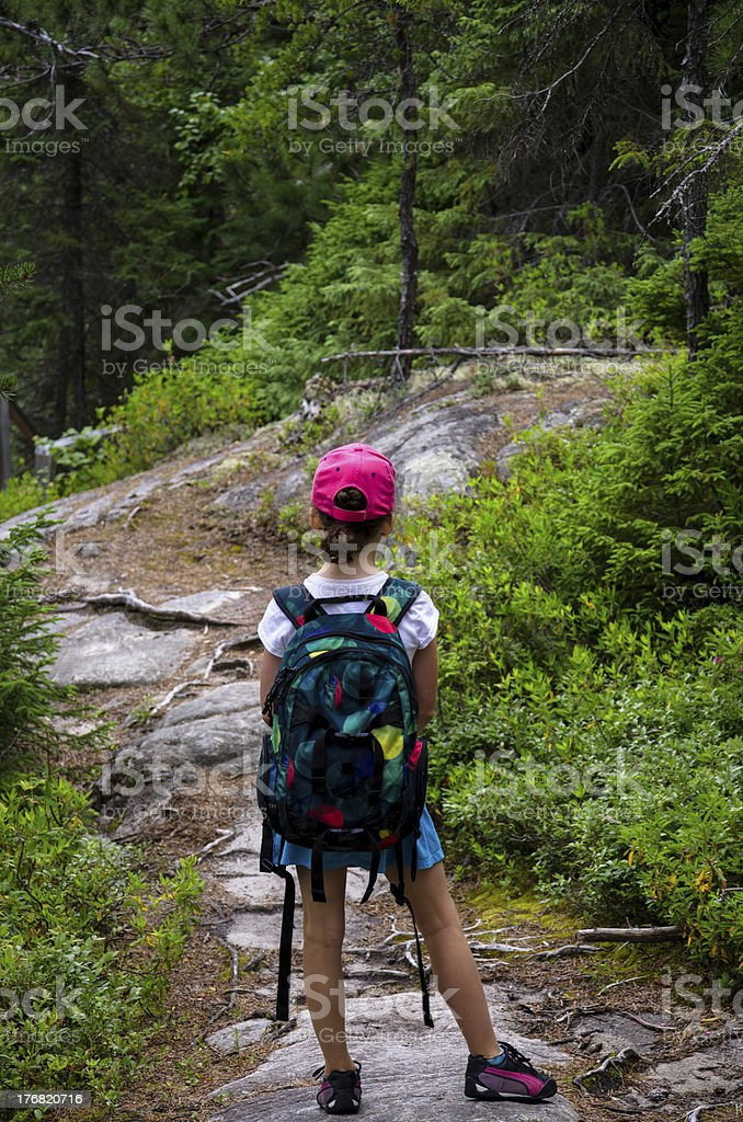 Young children hiking in forest, Mountain, freedom royalty-free stock photo