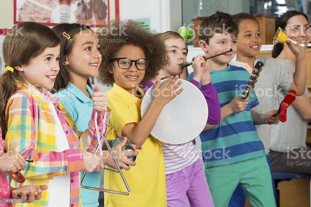 Young Children In Music Class stock photo