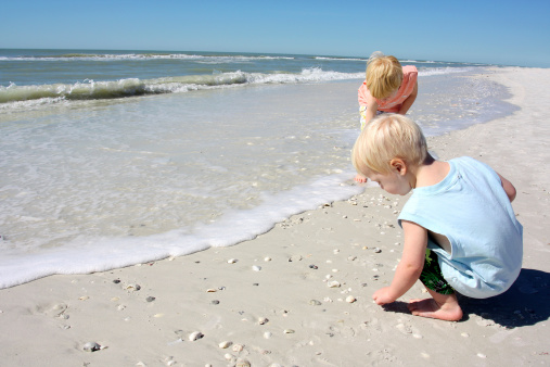 two young children, a boy and his baby brother are on the beach by the ocean shore, picking up seashells