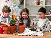 Group of children potting plants together indoors