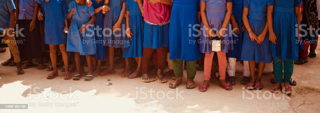 Young children standing in a group unique photo stock photo
