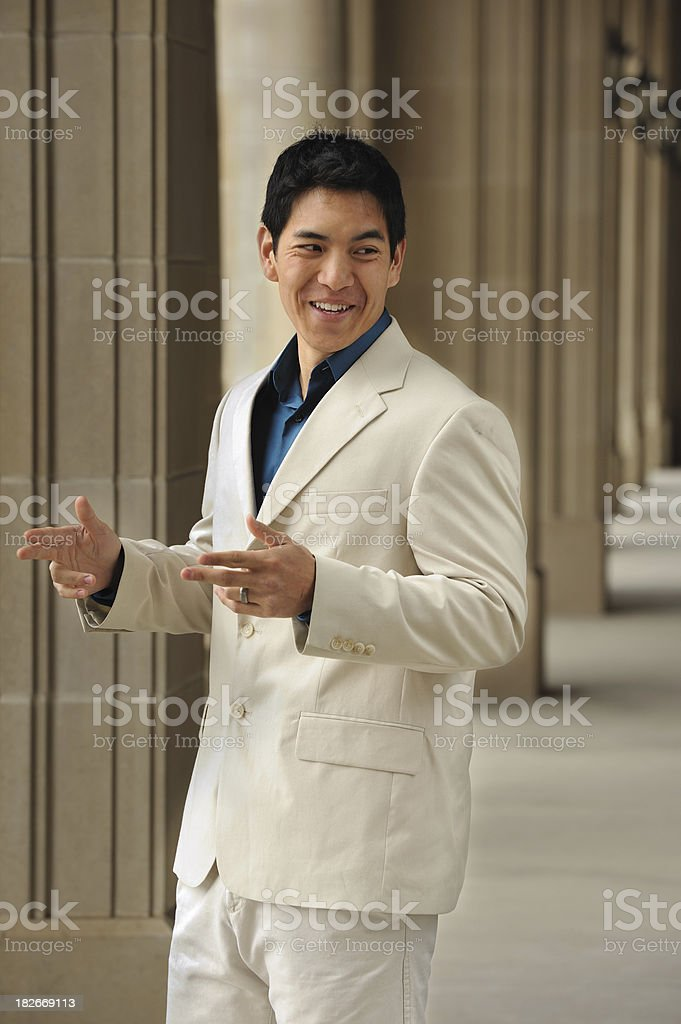 Young Chinese executive communicating royalty-free stock photo