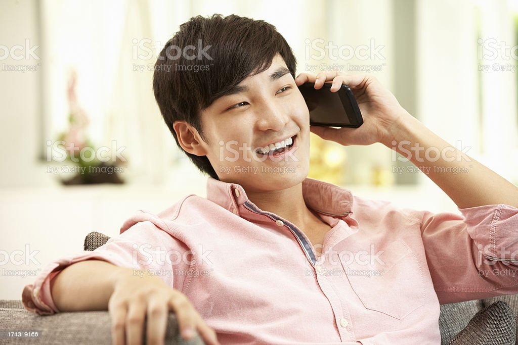 Young Chinese Man Using Mobile Phone On Sofa At Home royalty-free stock photo