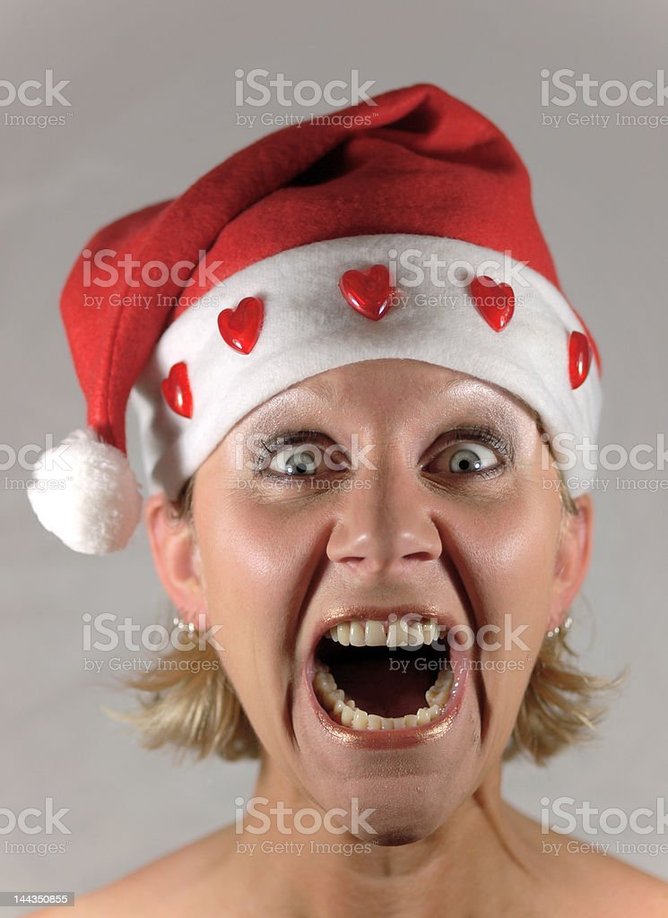 Young Christmas female screaming royalty-free stock photo
