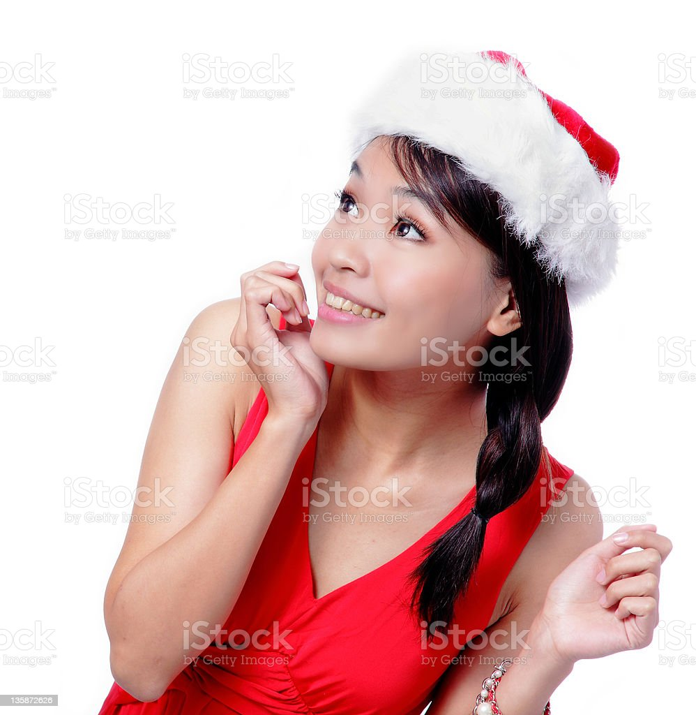 Young Christmas Girl looking up royalty-free stock photo