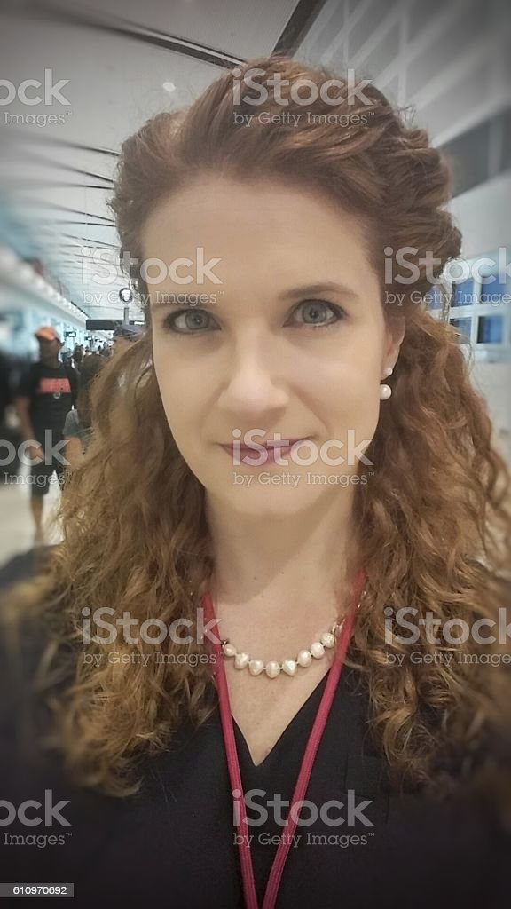 Young Classic Long Hair Pearls Flight Attendant Occupation Professional, Airport stock photo