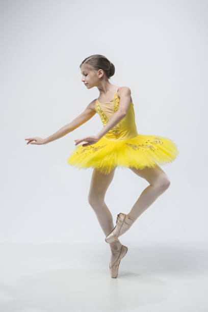 young classical dancer on white background - dance group stock photos and pictures