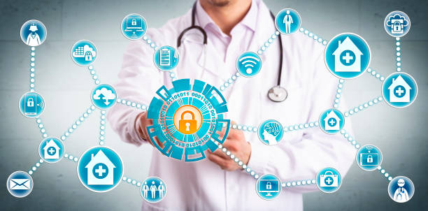 Young Clinician Securely Sharing Healthcare Data stock photo