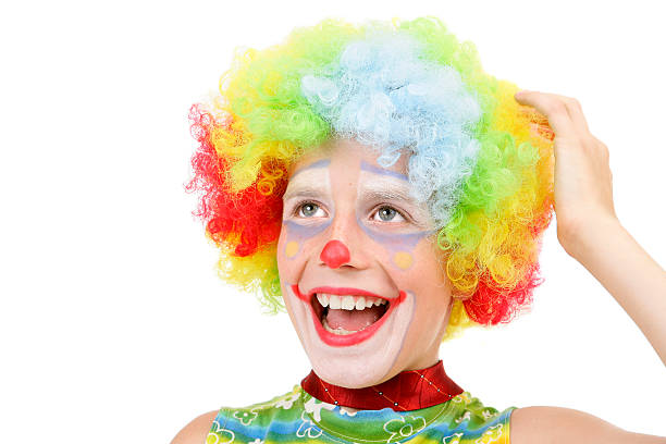 Funny Young Clown Pink Background Stock Photo - Download