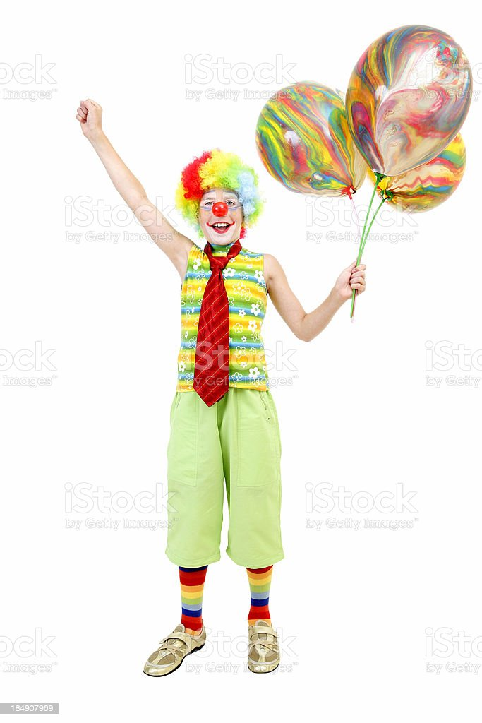 Young clown with balloons royalty-free stock photo