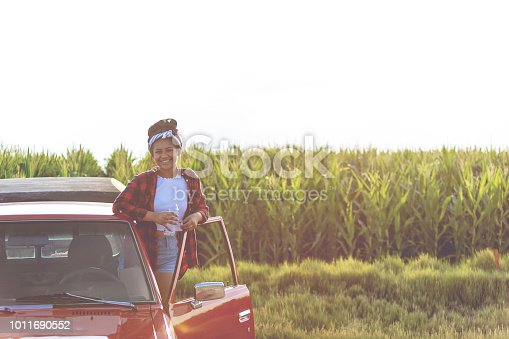 Evening Mid Summer with Young College Aged Ethnic and Mixed-Race Females and a Retro pickup in Corn Fields and on Dirt Access Roads in Western Colorado with various angles, DOF and POV (photos professionally retouched and filters applied as needed - Lightroom / Photoshop - original size 8688 x 5792 canon 5DS Full Frame)