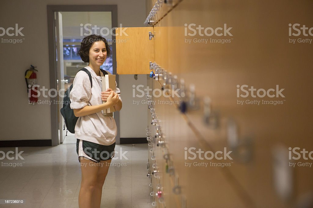 Young College Student with Lockers royalty-free stock photo