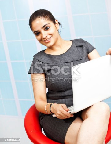 istock Young Confident Attractive Indian Businesswoman Using Laptop 171590030